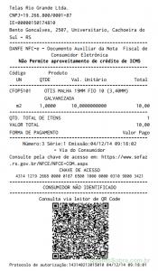 Nfce Cupom Fiscal Eletrôniconota Fiscal Do Consumidor